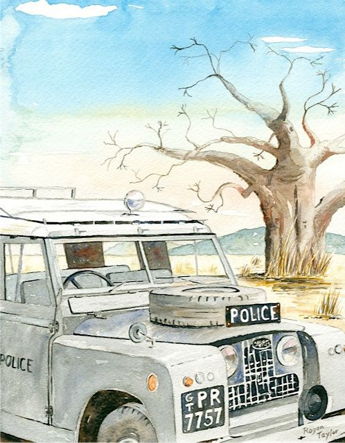 The B.S.A.P. Land Rover (Series IIA circa 1964) in this painting is a typical rural patrol scene in Rhodesia with a Baobab tree in the mid distance. © Rogan D Taylor