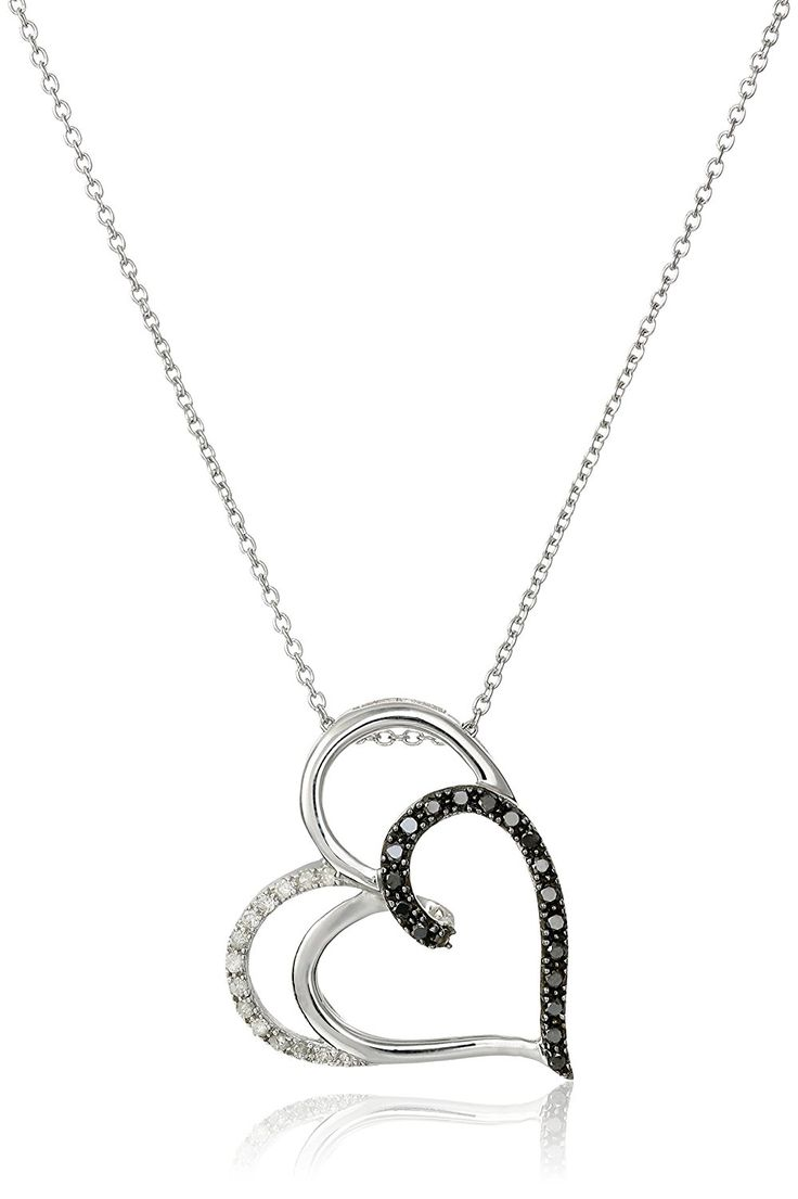 Sterling Silver Black and White Diamond Double-Heart Pendant Necklace (1/4 cttw), 18' ** To view further for this item, visit the image link. (This is an Amazon Affiliate link and I receive a commission for the sales)