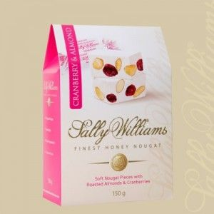 A box of 20 gift bags of Sally Williams Cranberry & Almond Nougat. Gourmet nougat from a true culinary genius.