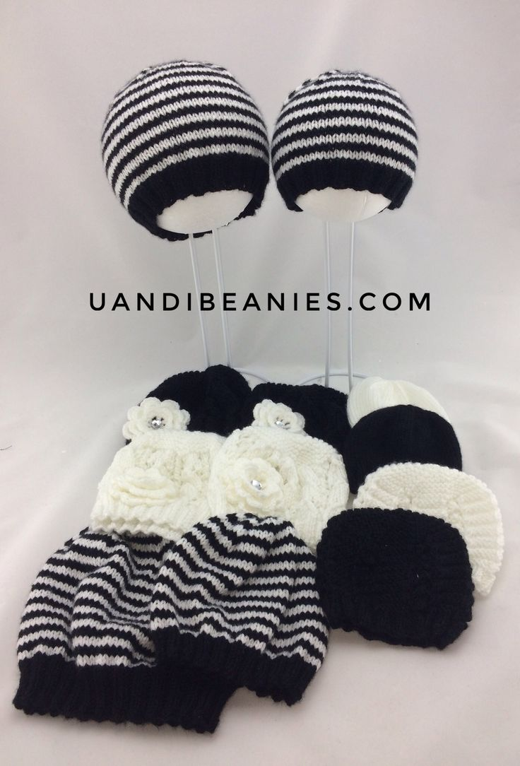 Some of the beanies in our black and white collection