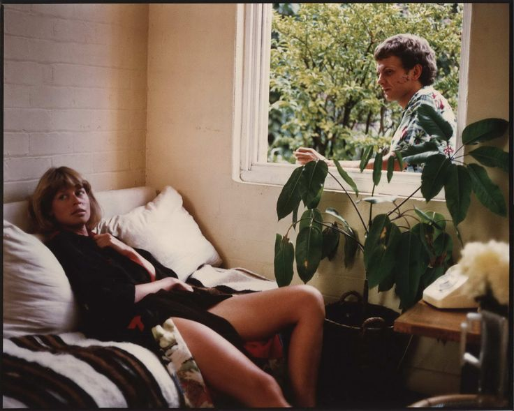 "Judy Morris On Couch And Richard Moir Through Window On The Set Of ""In Search Of Anna"" 