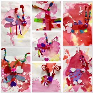 Love Bugs, Valentine Craft, Valentine's Day art, Valentines, 2nd Grade, Art Education, Art Education Blog, pipe cleaners, bleeding tissue paper, Kim and Karen 2 Soul Sisters Art Education Blog