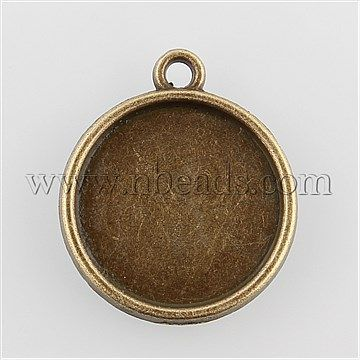 Flat Round Alloy Pendant Cabochon Settings, Nickel Free, Antique Bronze<P>Size: about 19mm wide, 22mm long, 2mm thick, hole: 1.5mm; tray: 16mm; about 665pcs/kg.<br/>Priced per 10 pcs