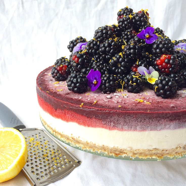Lemon Cheesecake with Blackberry Topping Couldn't wait until this cake fully defrosted to take some pics. ☺️ Anyone else go gangbusters picking blackberries recently? I may or may not have some battle wounds...😬 but I don't know what it is this year, they are so juicy! If you'd like to make this cake with your haul I'm putting the recipe in the comments below and will add it on the site tonight! If you haven't yet and you know where a good blackberry patch is, get picking! Can't beat free…