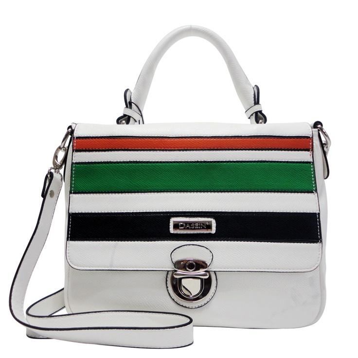 Dasein Multi Block Color Messenger Bag (White)