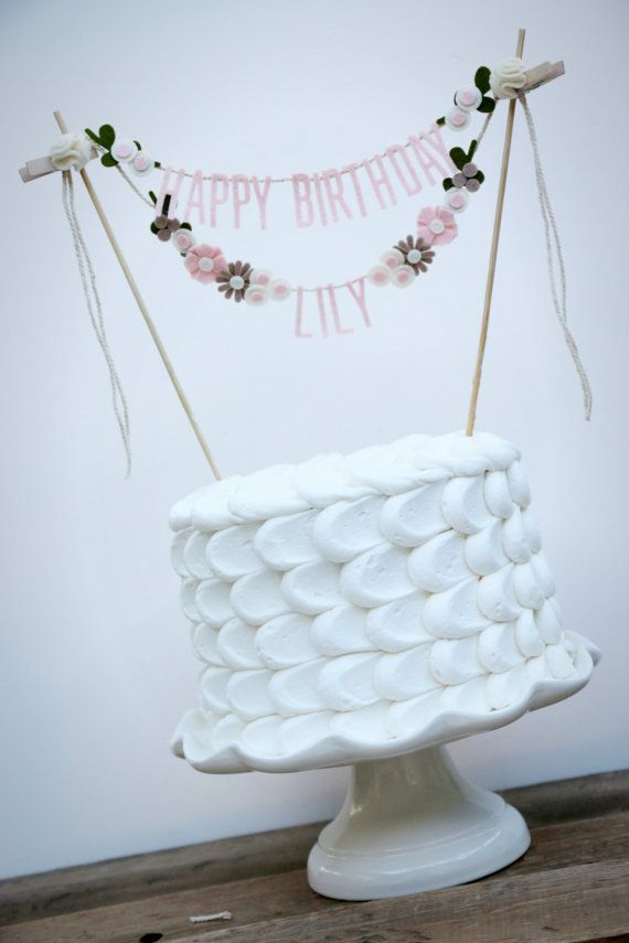 Personalized Flower Cake Banner Birthday Cake by pipsqueakandbean