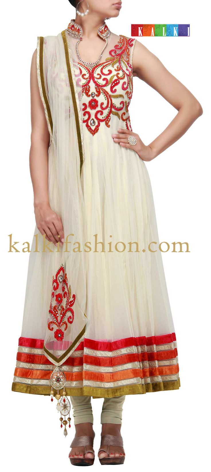 Buy it now http://www.kalkifashion.com/anarkali-suit-in-cream-net-with-velvet-cut-work embroidery.html Anarkali suit in cream net with velvet cut work embroidery