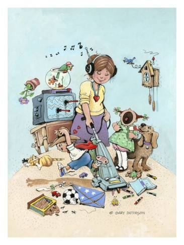 Super Mom by Gary Patterson:  this looks like me...except without the vacuum ;)