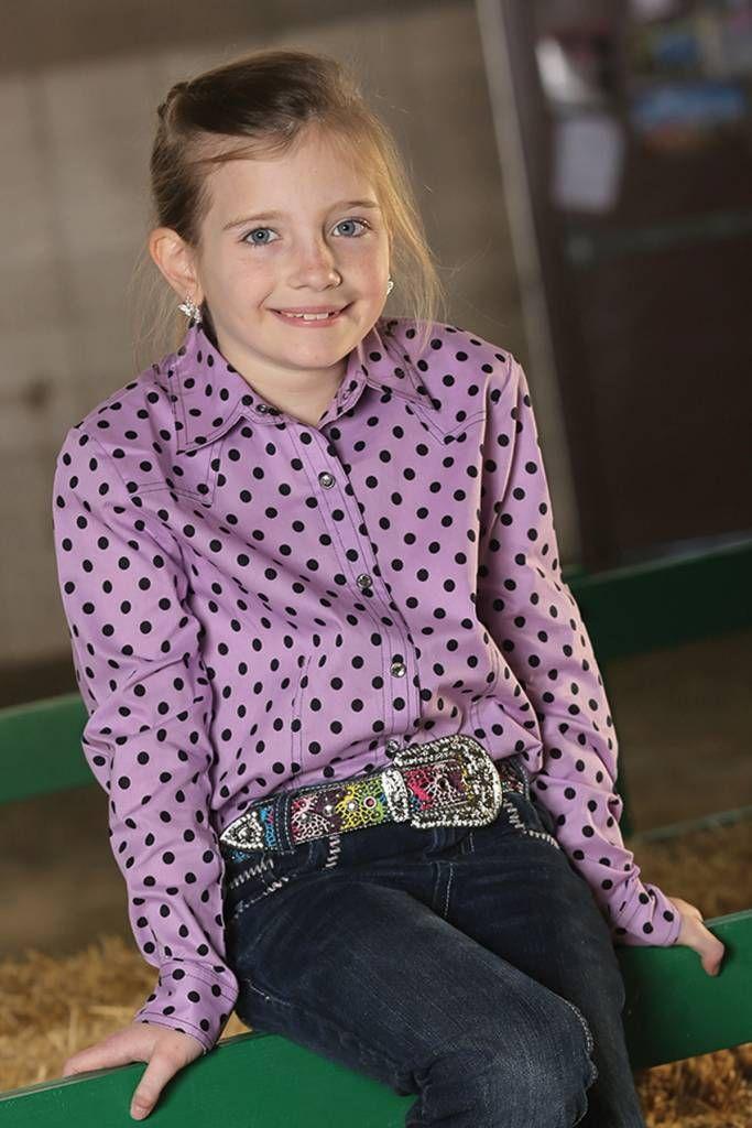 Cruel Girl Youth Purple Polka Dot Western Snap Shirt