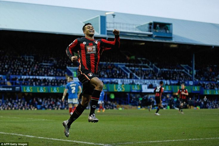 Bournemouth's Norwegian striker Joshua King celebrates scoring his team's first goal of the FA Cup 4th round tie