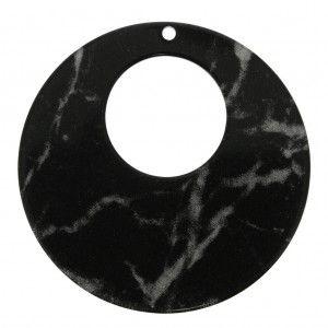 Pendentif rond – boucles d'oreilles – en plexiglas 60 mm effet marbré noir x1