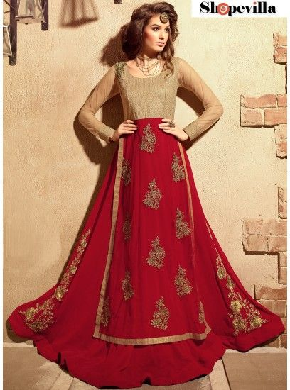 Lovely Red Georgette Material Anarkali Suit With Embroidered Work-3101