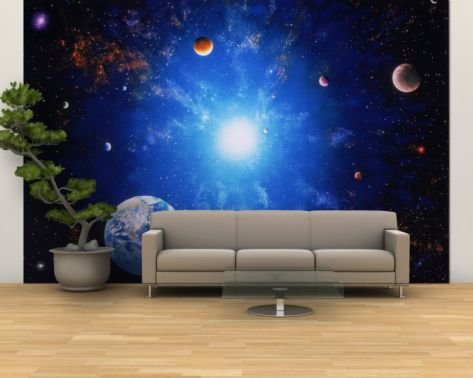 ILLUSTRATION OF EARTH AND GLOWING STAR Wall Mural – Large|By Ron Russell|Item #: 13429241A