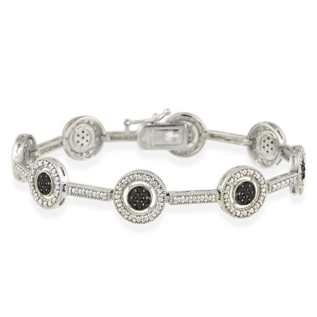 DB Designs Sterling Silver 3/5ct TDW Black Diamond Bracelet