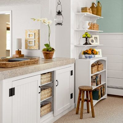 beadboard cabinet doors and a group of shelves were built in to an existing room divider. Interior Design Ideas. Home Design Ideas