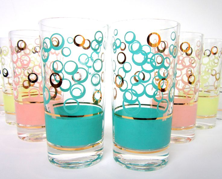 RESERVED for M Mid-Century Fred Press Signed Glassware, Set of 8 Atomic Age High Ball Glasses, Aqua, Pink, White, Yellow, Gold