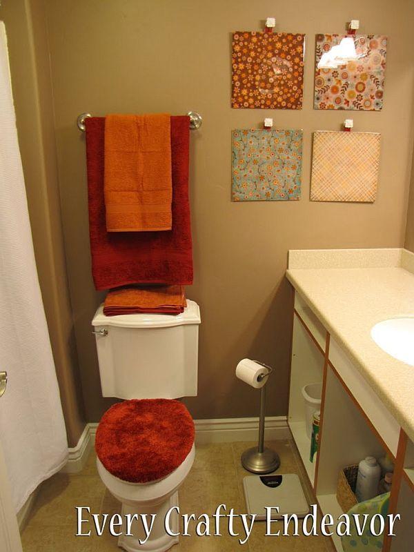 I really like the wall art.: Bathroom Grey, Easy Wall Art, Toilets Seats, Art Ideas, Scrapbook Paper, Diy Wall Art, Bathroom Decor, Easy Diy, Glaze Wall