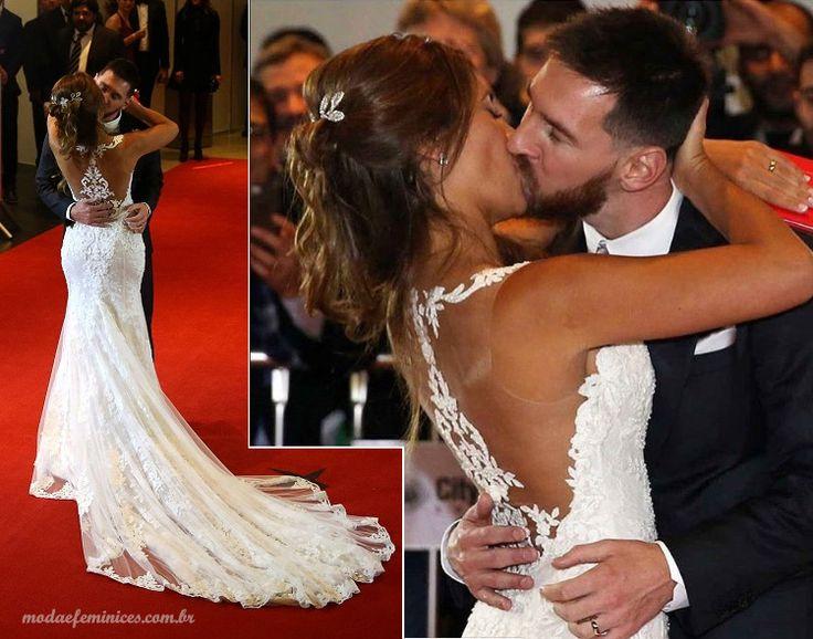 Vestido de noiva do casamento de Messi e Antone Roccuzzo ( Rosa Clará )- Moda & Feminices