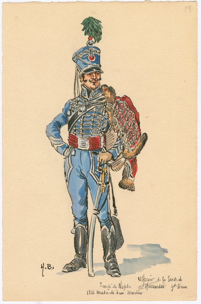 Naples; Security Guard, Hussars, Officer, Grande Tenue, 1815