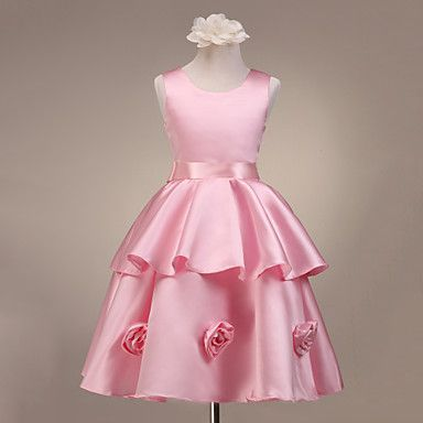 A-line Sleeveless Satin Flower Girl Dress With Flowers – AUD $ 69.49