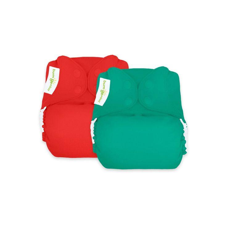 BumGenius Reusable Diaper Set Forest Red, Hummingbird/Pepper