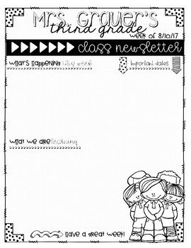 Editable class newsletters for back to school: Start your school year off on a good note! Keep parents informed with weekly newsletters. These templates will help you keep your information organized and will help your parents stay informed throughout the school year. Back to school weekly newsletter templates for teachers