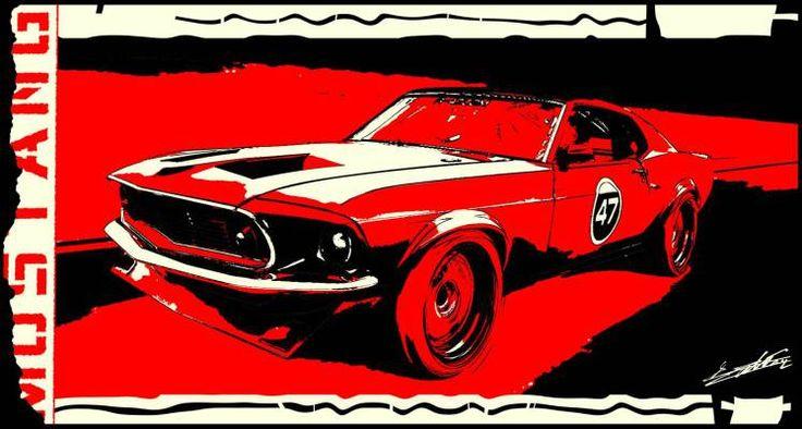 Tableau noir blanc rouge voiture américaine Ford Mustang pop art