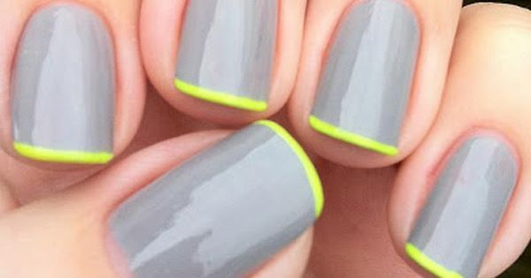 Grey and fluorescent yellow nails