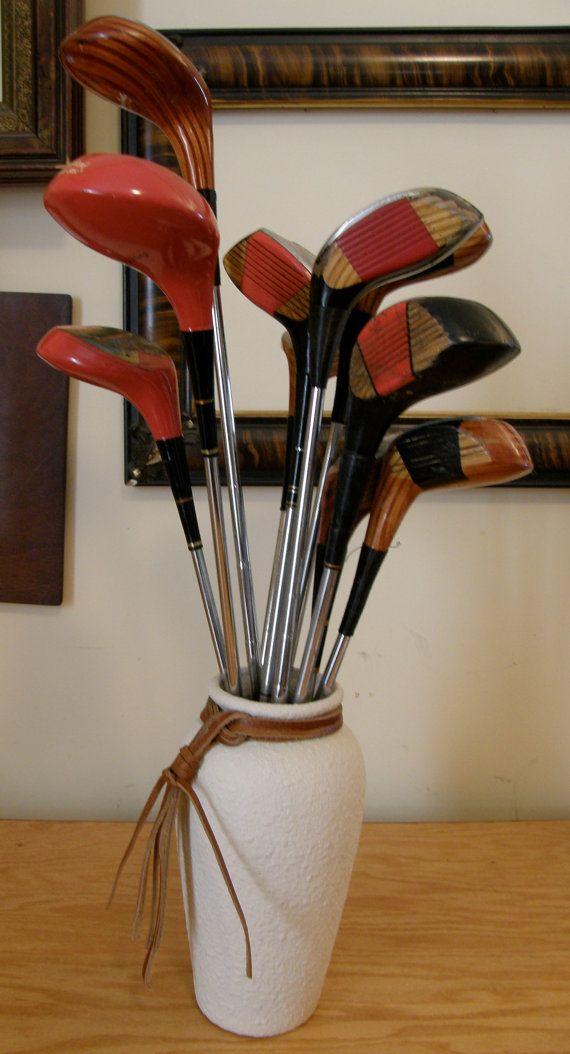 Vintage Golf Clubs Repurposed   MAN FLOWERS  One by WhiteShepherd, $48.00