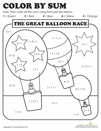 color by sum the great balloon race school first grade addition number worksheets. Black Bedroom Furniture Sets. Home Design Ideas