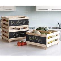 Fruit & Veg Storage Crates - Set of 3