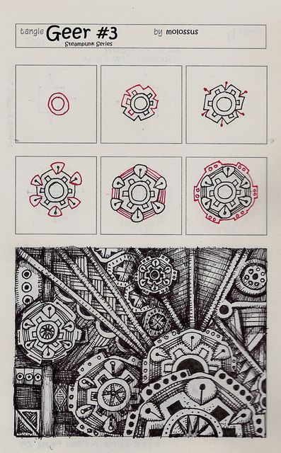 Geer #Three-Tangle Pattern by molossus, who says Life Imitates Doodles, via Flickr