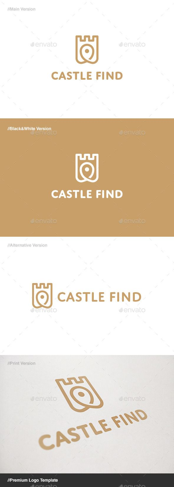 Castle Find: is a logo that can be used in real estate companies, tourist guides, GPS stores, among other uses. Its design is very