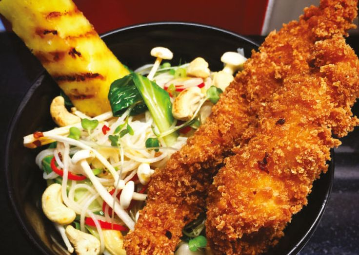 Ravenous Fox's panko breaded chicken with spicy noodle salad and charred pineapple. Follow link for full recipe from Appetite Magazine, North East England's dedicated food & drink publication.