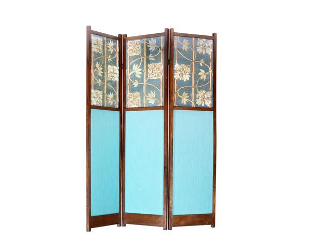 A mahogany framed three-fold screen Probably by Liberty