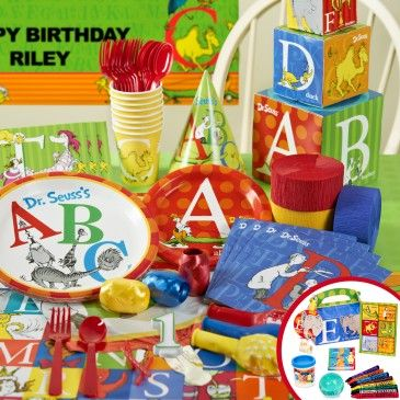 Dr.+Seuss+ABC+-+1st+Birthday+Deluxe+Party+Pack+&+Favors+for+8