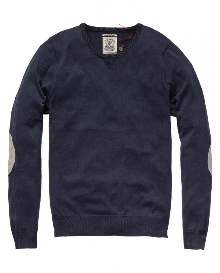Summer crew neck pull with elbow patches
