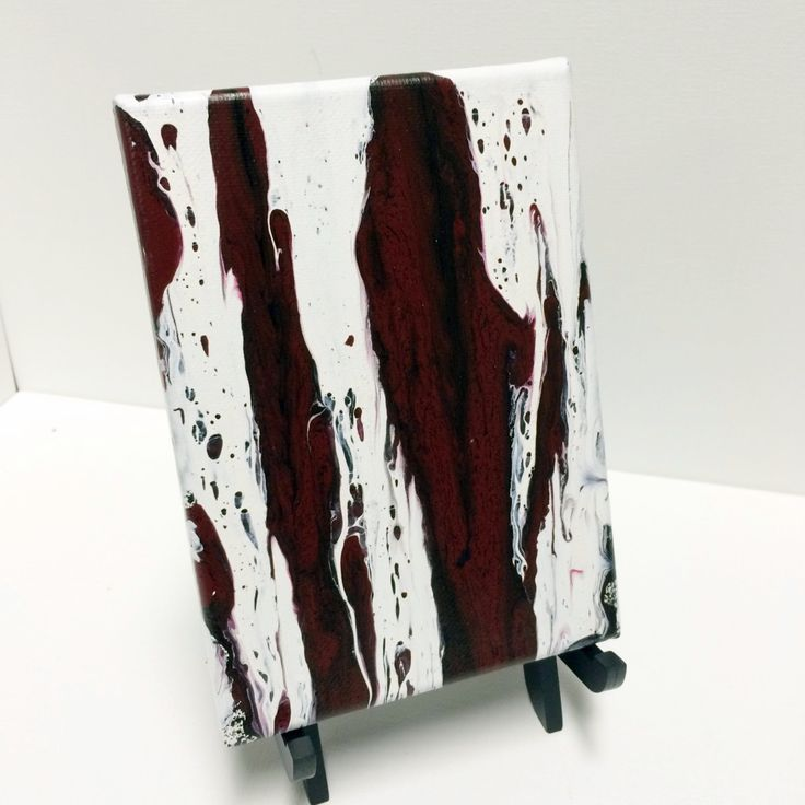 Small Original abstract acrylic drip painting. 5 x 7 inches. red and white. black and white.handmade. wall decor. drip painting by CMagyarArt on Etsy