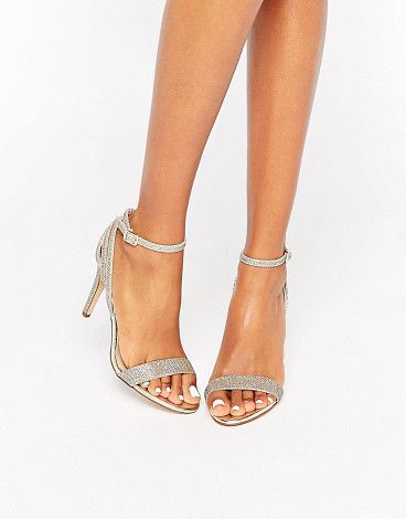 Gold barely there heel by New Look. Sandals by New Look, Textured upper, Ankle-strap fastening, Cut-out detail, High heel, Wipe clean with a damp cloth, ...