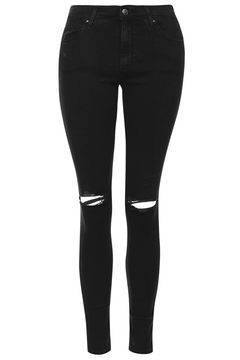 MOTO Washed Black Ripped Leigh Jeans
