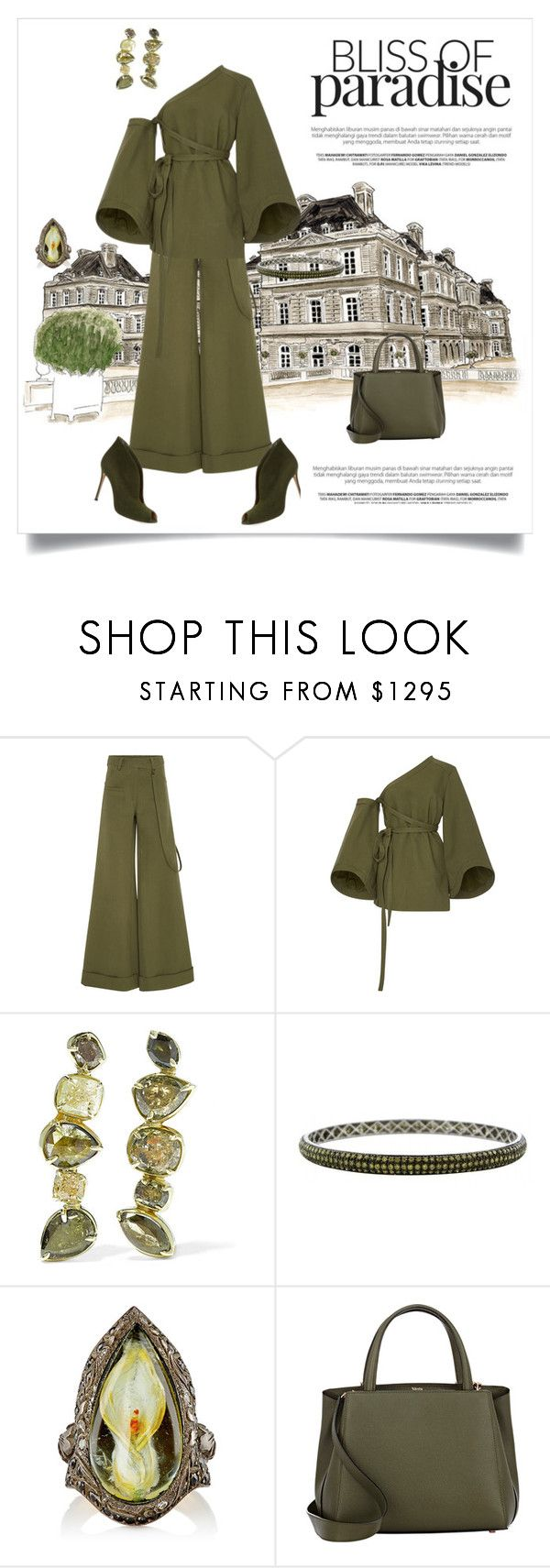"""""""Bliss of Paradise"""" by shoecraycray ❤ liked on Polyvore featuring Rosie Assoulin, Kimberly McDonald, Sevan Biçakçi, Valextra and Gianvito Rossi"""