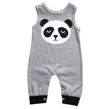 Leuke Pasgeboren Baby Kleding 0-24 M Zuigeling Bebes Cartoon Panda Mouwloze Baby Rompertjes Jumpsuit Outfit Baby Kostuum(China)