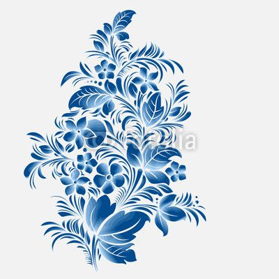 Vector: blue flower ornament, gzhel russian style