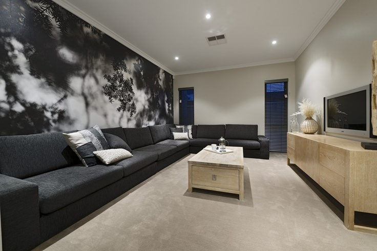 Wide theatre and living room with feature wall