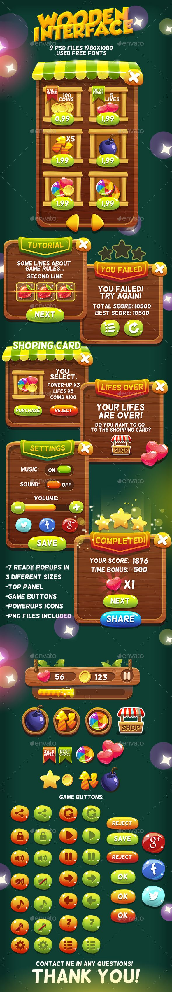 Wooden Game Interface #4 - User Interfaces Game Assets | Download: https://graphicriver.net/item/wooden-game-interface-4/18317563?ref=sinzo