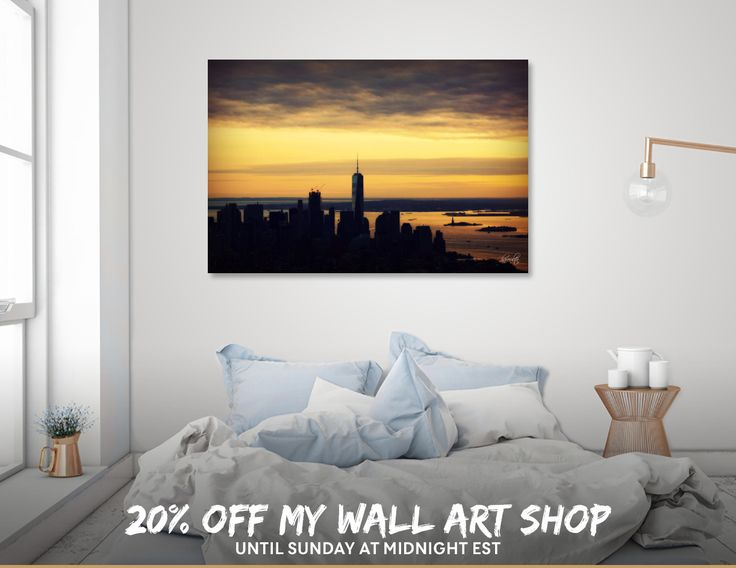 Discover «NY Skyline Sunset», Numbered Edition Canvas Print by Haris Kavalla - From 45€ - Curioos