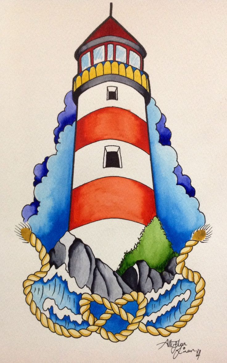 Neotraditional lighthouse, watercolor