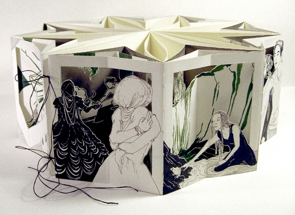 """The Frog's Sister, a 15"""" carousel book by Molly Brooks. February 2010. Ink, paper. 6"""" tall, diameter of 15"""". """"A weird original fairytale told in nine illustrated panels."""""""