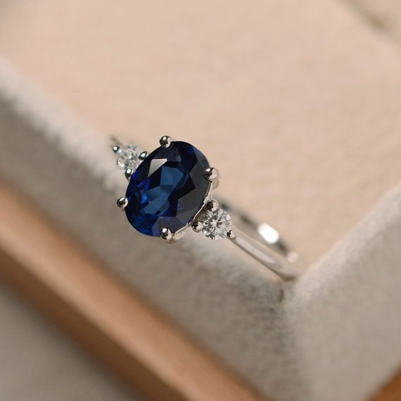Sapphire ring silver blue gemstone ring sapphire by LuoJewelry