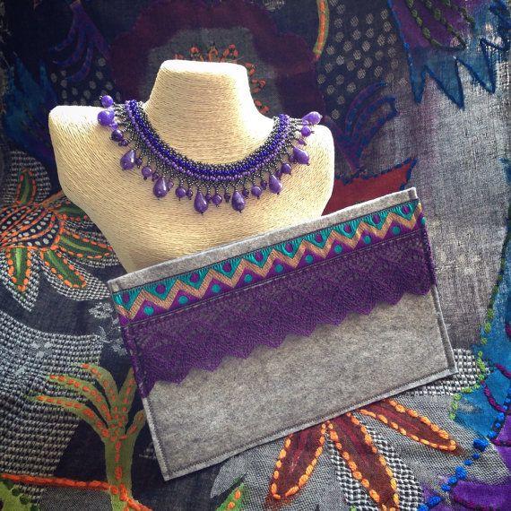 Grey Purple Ethnic Clutch by BOHOCHICBYDAMLA on Etsy